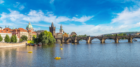 Panoramic view of Charles Bridge in Prague in a beautiful summer day, Czech Republic