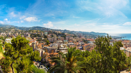 Panoramic aerial view of San Remo in a beautiful summer day, Italy