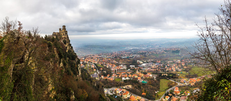 Rocca della Guaita fortress in San Marino in winter day Stock Photo