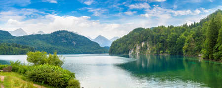 Hohenschwangau Castle and Alps in Fussen, Bavaria, Germany in a beautiful summer day