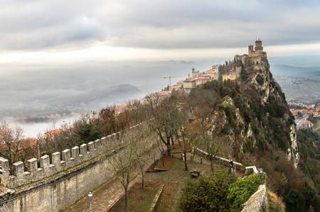 Rocca della Guaita fortress in San Marino in winter day
