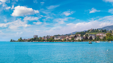 Panorama of  Montreux and Lake Geneva in a beautiful summer day, Switzerland