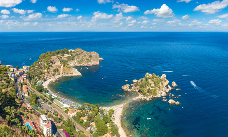 Panoramic aerial view of island Isola Bella in Taormina, Sicily, Italy in a beautiful summer day