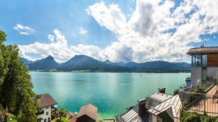 wolfgang: Aerial panoramica view of Wolfgangsee lake, Salzkammergut, Austria in a beautiful summer day