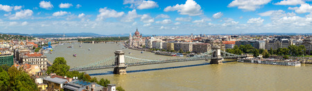building a chain: Panoramic view of Budapest and Danube river in a beautiful summer day