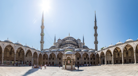 ISTANBUL, TURKEY - JULY 26, 2017:  Sultan Ahmed Mosque (Blue mosque) in Istanbul, Turkey in a beautiful summer day