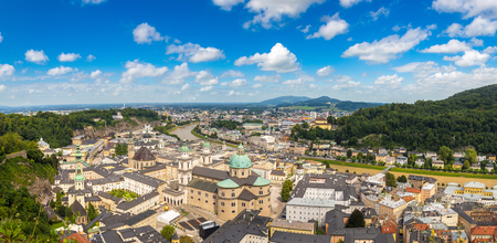 wolfgang: Panoramic aerial view of Salzburg Cathedral, Austria in a beautiful day