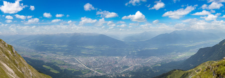 Panoramic aerial view of Innsbruck in a beautiful summer day, Austria Stock Photo