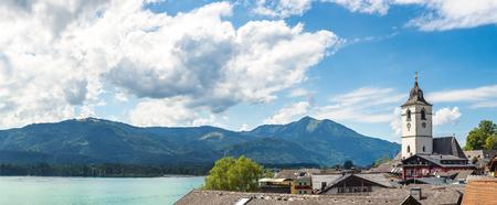 wolfgang: St. Wolfgang City on Wolfgangsee lake, Salzkammergut, Austria in a beautiful summer day Stock Photo