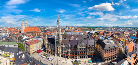 Aerial view on Marienplatz town hall and Frauenkirche in Munich, Germany in a beautiful summer day