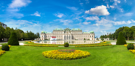 Fountain and Belvedere Palace in Vienna, Austria in a beautiful summer day