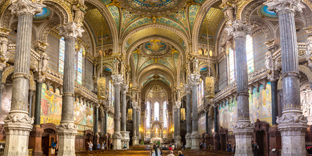 Interior of Basilica of Notre Dame de Fourviere in Lyon, France in a beautiful summer day