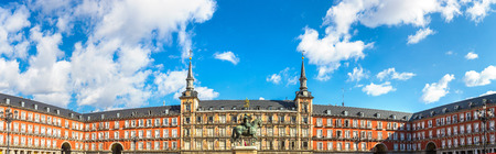Plaza Mayor and statue of King Philips III in Madrid, Spain in a beautiful summer day Editorial