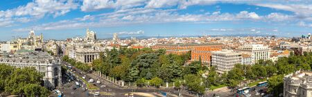 Aerial view of Cibeles fountain at Plaza de Cibeles in Madrid in a beautiful summer day, Spain Stock Photo