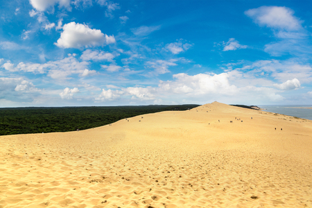 footprints in sand: Dune of Pilat (Dune du Pyla) - the tallest sand dune in Europe, Arcachon Bay, Aquitaine, France, Atlantic Ocean