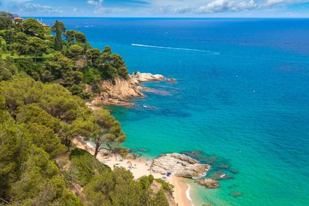 Rocks on the coast of Lloret de Mar in a beautiful summer day, Costa Brava,   Catalonia, Spain Stock Photo