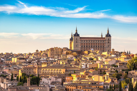 Panoramic cityscape of Toledo, Spain in a beautiful summer day