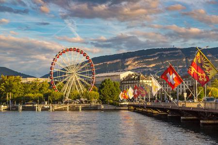 Ferris wheel in Geneva in a beautiful summer day, Switzerland 스톡 콘텐츠