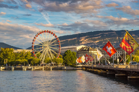 Ferris wheel in Geneva in a beautiful summer day, Switzerland Banco de Imagens