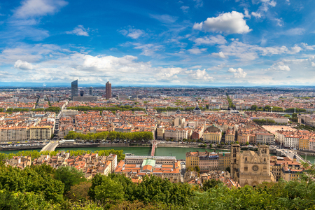 Aerial panoramic view of Lyon, France in a beautiful summer day