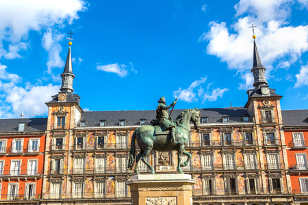 Plaza Mayor and statue of King Philips III in Madrid, Spain in a beautiful summer day Stock Photo