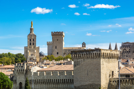 Popes Palace in Avignon in a beautiful summer day, France Stock Photo