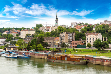 belgrade: Belgrade cityscape from the Sava river in Serbia in a beautiful summer day