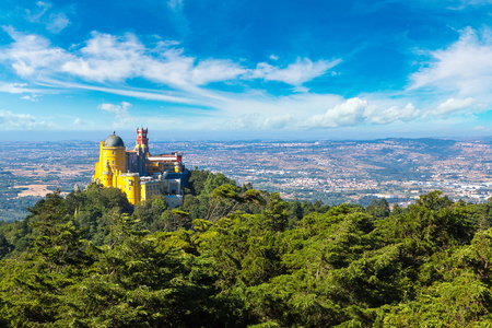 Panoramic view of Pena National Palace in Sintra in a beautiful summer day, Portugal Stock Photo