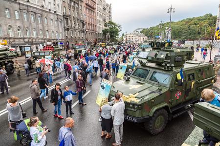 KIEV, UKRAINE - AUGUST 24, 2017: Exhibition of military equipment in Kiev in a beautiful summer day, Ukraine on August 24, 2017
