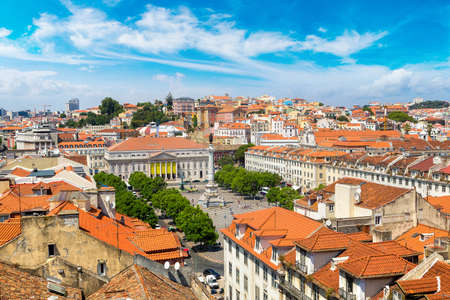 Panoramic aerial view of Rossio Square in Lisbon in a beautiful summer day, Portugal