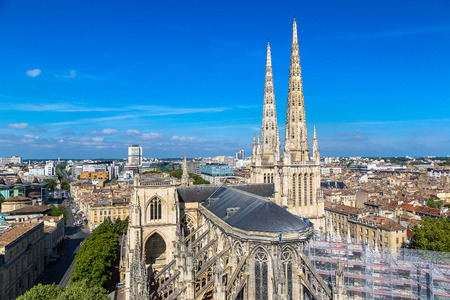 Panoramic aerial view of St. Andrews Cathedral in Bordeaux in a beautiful summer day, France