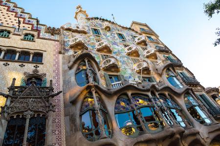 BARCELONA, SPAIN - JUNE 26, 2016: Facade of the house Casa Battlo by Antoni Gaudi in Barcelona, in a beautiful summer day, Catalonia, Spain on June 26, 2016 Stock Photo
