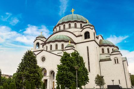 Serbian orthodox church of Saint Sava in Belgrade, Serbia in a beautiful summer day Stock Photo