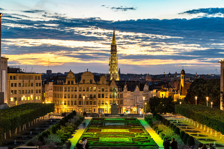 Cityscape of Brussels in a beautiful summer night, Belgium