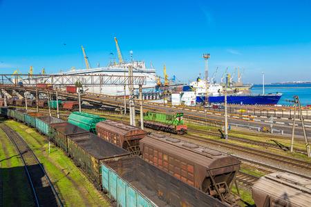 Railway carriage cargo terminal of  Odessa sea port, Ukraine in a beautiful summer day