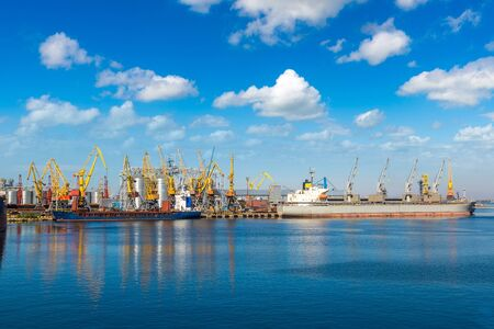 Cargo container terminal port in Odessa, Ukraine in a beautiful summer day Stock Photo