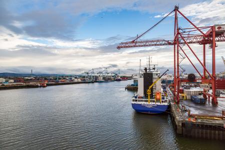 DUBLIN, IRELAND - JUNE 16, 2016: Port of Dublinin a beautiful summer day, Ireland on June 16, 2016 Editorial