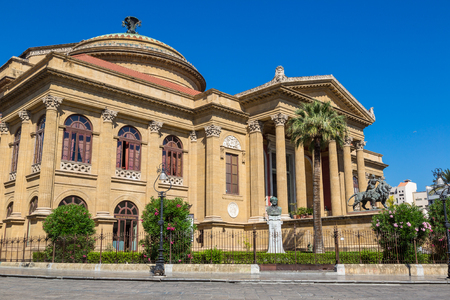verdi: PALERMO, ITALY - JULY 28, 2017: Massimo theatre in Palermo, Italy in a beautiful summer day Editorial