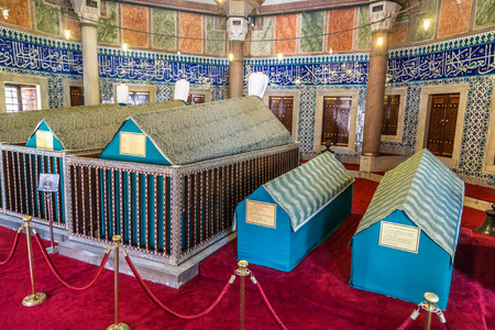 ISTANBUL, TURKEY - JULY 26, 2017: Tomb of turkish sultan Suleyman in Istanbul, Turkey in a beautiful summer day