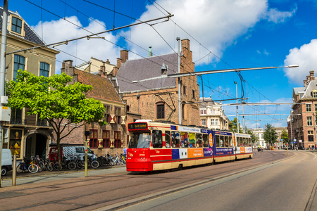 the hague: HAGUE, THE NETHERLANDS - JUNE 16, 2016: City tram in Hague in a beautiful summer day, The Netherlands on June 16, 2016