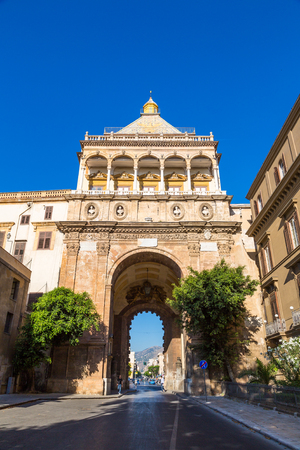 PALERMO, ITALY - JULY 28, 2017: The gate of Porto Nuovo in Palermo, Italy in a beautiful summer day Editorial
