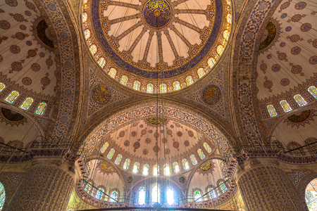 Interior of Sultanahmet Mosque (Blue Mosque) in Istanbul, Turkey in a beautiful summer day