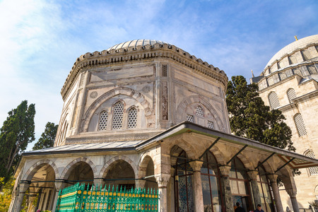 Tomb of turkish sultan Suleyman in Istanbul, Turkey in a beautiful summer day