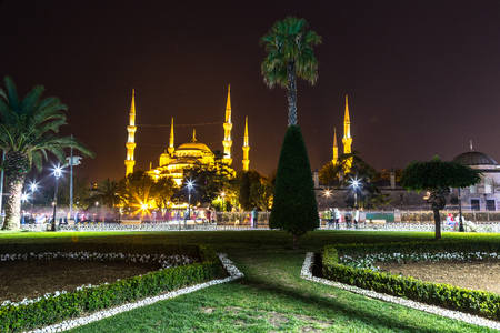 Blue mosque (Sultan Ahmet mosque) in Istanbul, Turkey in a beautiful summer night