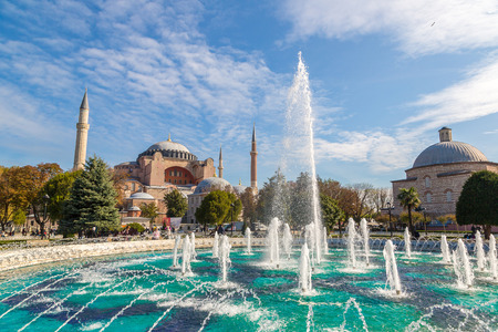 Hagia Sophia and fountain in Istanbul, Turkey in a beautiful summer day Stock Photo