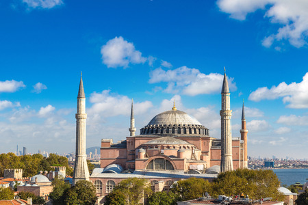 Panoramic aerial view of Hagia Sophia in Istanbul, Turkey in a beautiful summer day Stock Photo