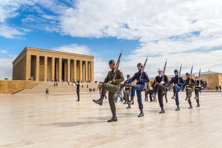 ANKARA, TURKEY - JULY 29, 2017: Anitkabir in Ankara, The guard shift ceremony, Turkey in a beautiful summer day Editorial