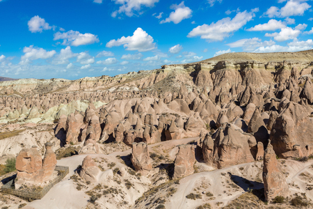 natural formation: Volcanic rock formations landscape in Cappadocia, Turkey in a beautiful summer day Stock Photo