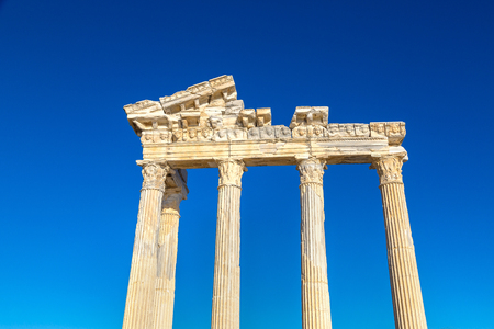 archaeologies: Ruins of the Temple of Apollo in Side in a beautiful summer day, Antalya, Turkey