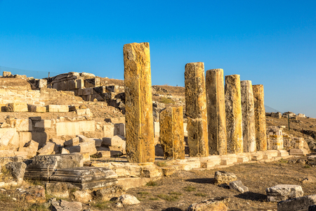 archaeologies: Ruins of the ancient city Hierapolis in Pamukkale, Turkey in a beautiful summer day